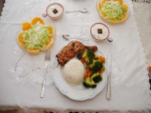 Geflügel : Gebratene Hähnchenschenkel mit gedünstetem Gemüse und Reis - Rezept - Bild Nr. 2