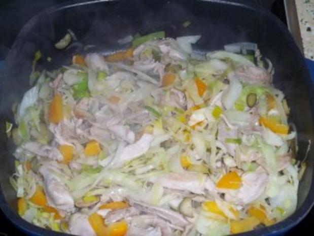 Hähnchen Kebab, gebratenes Hühnerkeulenfleisch in pikanter Gemüsemischung - Rezept - Bild Nr. 6