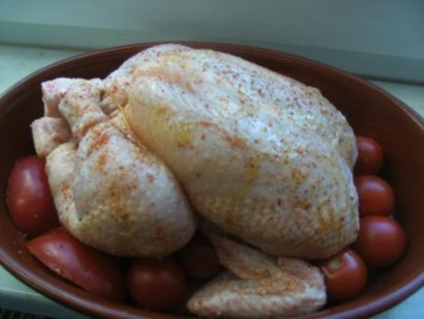 Hähnchen  in Tomaten gebacken mit  Schwarzwurzelgemüse Salzkartoffeln und - Rezept - Bild Nr. 4