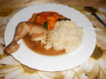 Gebratenes Hähnchen mit Rosmarin ~ buntes Gemüse ~ Reis - Rezept