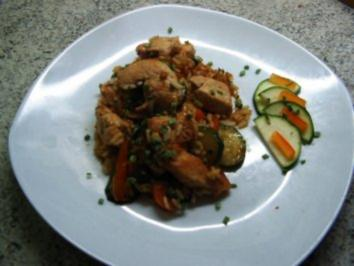 Gemüse-Hähnchen-Reis-Pfanne - Rezept
