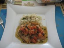 Lachsforellenfilets mit Tomaten und Kapern - Rezept
