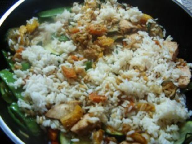Gebratener Reis mit Hähnchen und Bambussprossen - Rezept - Bild Nr. 3