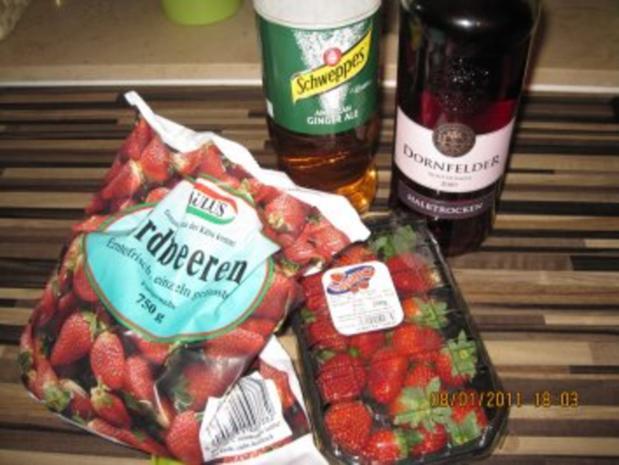 Erdbeer-Rotwein-Ginger Ale  Bowle - Rezept - Bild Nr. 2