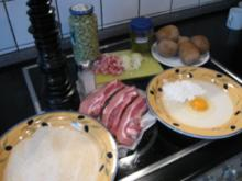 Dicke Rippe paniert , dazu Salzkartoffeln und Bohnen mit Speck in Bechamelsauce - Rezept