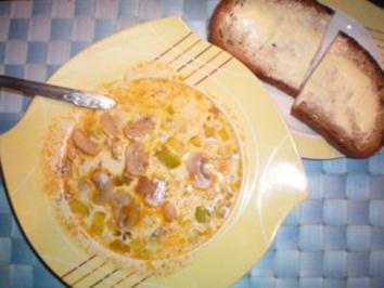 Käse-Suppe mit Lauch und Hack - Rezept