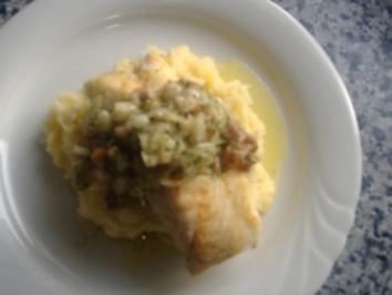 Dorschfilet auf Kartoffel-Sauerkrautpürree mit Speckstippe - Rezept
