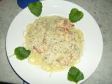 Knofi Spaghetti mit Shrimps - Rezept