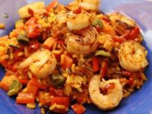 Spanische Reispfanne mit Garnelen und Kapern - Rezept