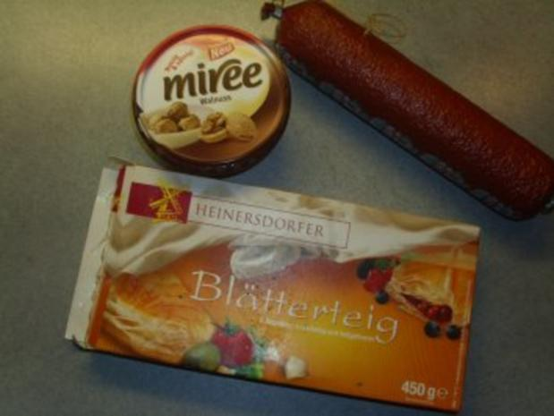Pikante Kuchen: Blätterteig mit Nusskäse und Salami - Rezept - Bild Nr. 2