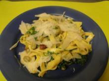 Fettucine in Sahnesauce mit dicken Bohnen - Rezept