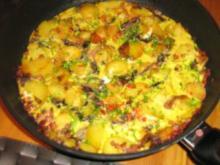 Frittata aus Kartoffeln, Schinken Radicchio und Ei - Rezept