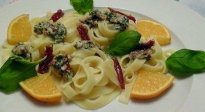 Tagliatelle mit Petersilien-Mandel Pesto - Rezept