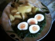 Spinat mit Koch-Ei  und Salzkartoffel - Rezept