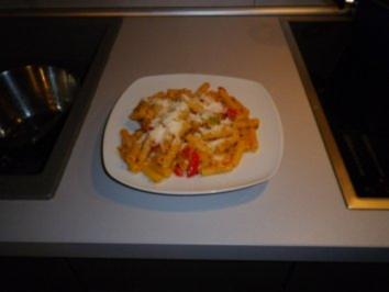 Paprika - Nudeln mit Forellenfilet - Rezept