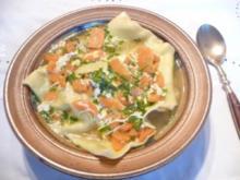 Pasta :Meine Maultaschen...heute... in Brühe mit Ei - Rezept