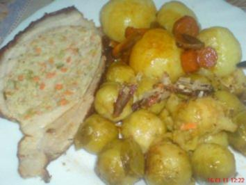 Gefüllter Gemüsebraten, und Speckrosenkohl - Rezept