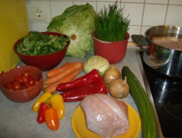 Salat mit gebratenen Putenstreifen - Rezept - Bild Nr. 2