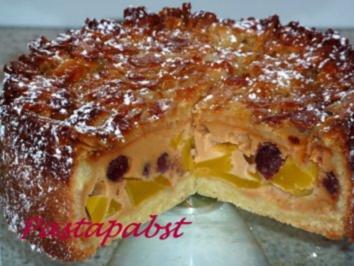 Mango-Cranberrie-Bienenstich - Rezept