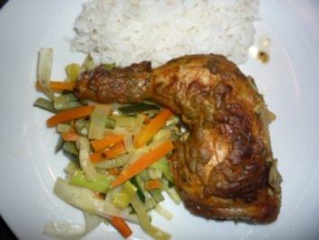 Huhn unter Senfkruste mit Mischgemüse und Reis - Rezept