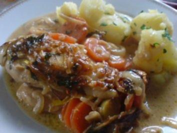 Hähnchenbrüste in sahniger Gemüse-Soße - Rezept