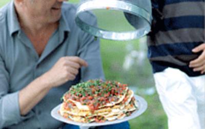 Pfannkuchen-Kichererbsen-Torte - Rezept