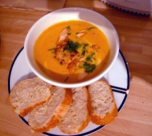 Möhren Chilli Rahm Suppe mit gebratenen Riesengarnelen oder (Räucher) Lachsstreifen - Rezept