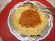 Spaghetti mit pikanter Tomaten - Gemüsesoße - Rezept
