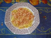Tagliatelle mit Garnelensoße nach Dieters Art - Rezept