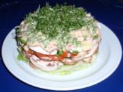 Feine Salat-Torte mit einem Joghurt-Senf-Kräuter-Dressing - Rezept