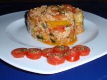 Reispfännchen mit Schweinefiletstreifen und Gemüse - Rezept