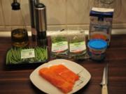 Lachsfilet mit feinen Bohnen in Sahne-Sauce mit kleinem Senf-Touch - Rezept