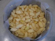 saftiger Apfelkuchen mit einer Mandel-Butterkruste - Rezept