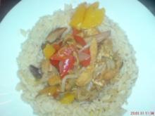 Hähnchengeschnetzeltes mit Paprika und Orangen im Wok - Rezept
