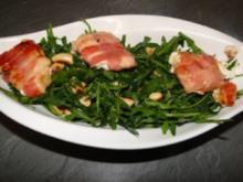 Ziegenfrischkäse ummantelt mit Schinken gebraten auf Rucolasalat - Rezept