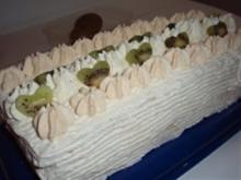 Torte: Nussbiskuit - Sahne - Schnitten - Rezept