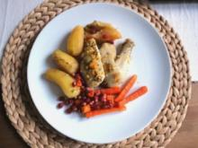 Poularde in feiner Orangen-Kräuter Marinade mit Gemüse und Granatapfelkernen - Rezept