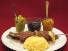 Rindfleisch-Spieß mit Dips und Reis aus Brasilien - Rezept