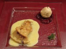 Bratapfelparfait mit Fruchtsoßen und Nuss-Schmarren - Rezept