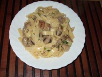 Champignon Nudelpfanne - Rezept