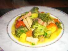 Bunter Gemüseeintopf mit Speck und  Rückenstreifen - Rezept