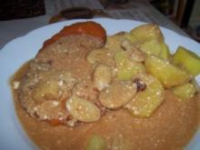 Schinkenschnitzel in Pilzrahmsoße mit Kartoffeln - Rezept