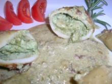 Pilz-Pesto-Ricotta ( ich habe es als  Fülle für meine Tintenfischtuben verwandt) schmeckt - Rezept