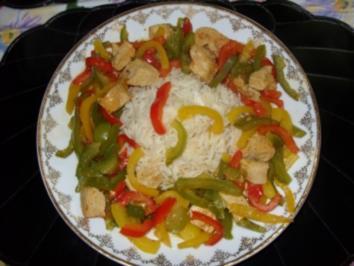 Putenschnitzel mit Paprikastreifen und Reis - Rezept - Bild Nr. 3