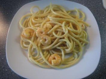 Makkaroni mit Garnelen, Curry, Sahnesoße - Rezept