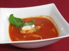 Frische Tomatensuppe mit feinen Wachteleier-Nudeln - Rezept