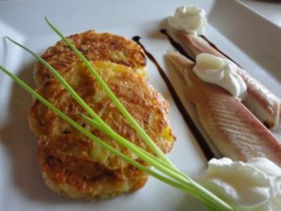 Käse Rösti  mit geräuchertem Saibling - Rezept