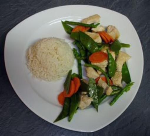 Hähnchen mit Thai-Spargel aus dem Wok - Rezept