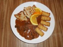 """Schnitzel """"naturel"""" mit  Rotwein-Orangen-Pilz-Sauce - Rezept"""
