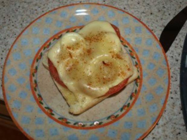 Tomaten-Zwiebel-Toast überbacken - Rezept